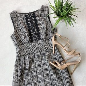 Trina Turk Tweed And Crochet Sheath Dress
